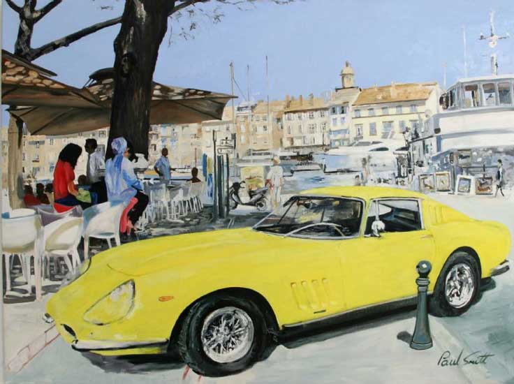 Ferrari 275 GTB in St Tropez. Oil on canvas 36 x 48 inc (91 x 122cm ). SOLD