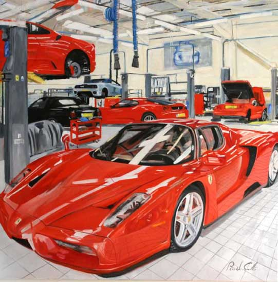 Ferrari Enzo at Marranello . Oil on canvas 46 x 46 inch (117 x 117 cm). SOLD