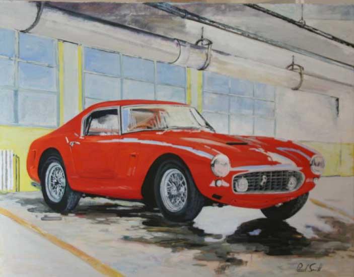 Ferrari 250 SWB undercover. Oil on canvas 36 x 46 inches (91 x 117cm). SOLD