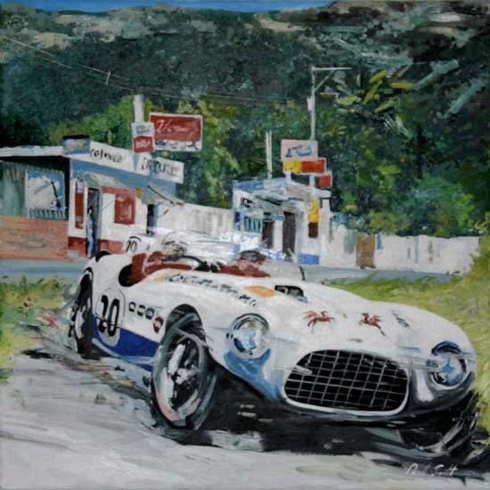 Ferrari 375 MM Vignale. Oil on canvas 30 x 30 inches (76 x 76 cm). SOLD