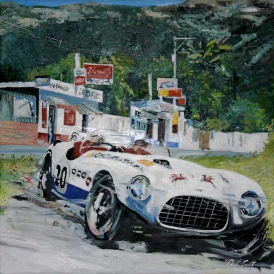 Ferrari 375 MM Vignale. Oil on canvas 30 x 30 inches (76 x 76 cm). SOLD