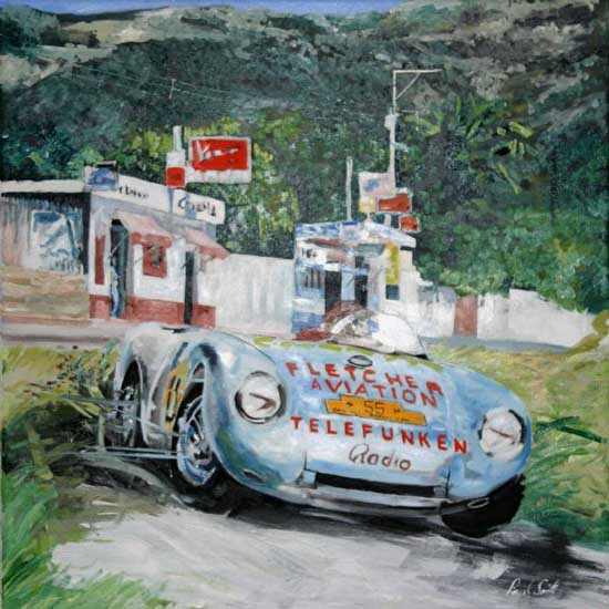 Porsche 550 Spyder. Oil on canvas 30 x 30 inches (76 x 76 cm). SOLD