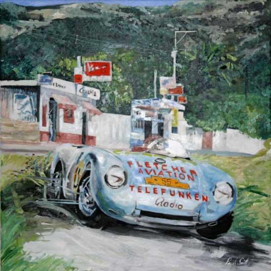 Porsche 550 Spyder. Oil on canvas 30 x 30 inches (76 x 76 cm). SOLD