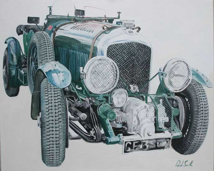 Vintage Bentley,Front View. Oil on canvas 36 x 46 inches (91 x 117 cm). SOLD
