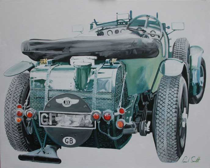Vintage Bentley,Rear View. Oil on canvas 36 x 46 inches (91 x 117 cm). SOLD