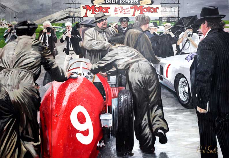 July 1954 Silverstone British GP | 96 x 138 inches (244 x 351 cm) | Oil on Wood Panel