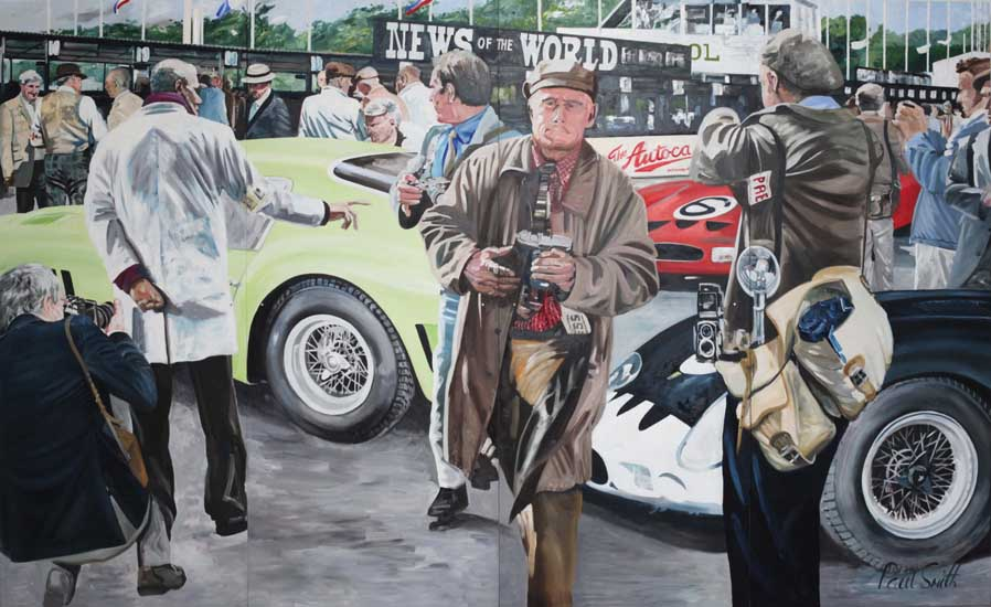 August 1962 RAC Goodwood TT | 96 x 157 inches (244 x 398 cm) | Oil on Wood Panel