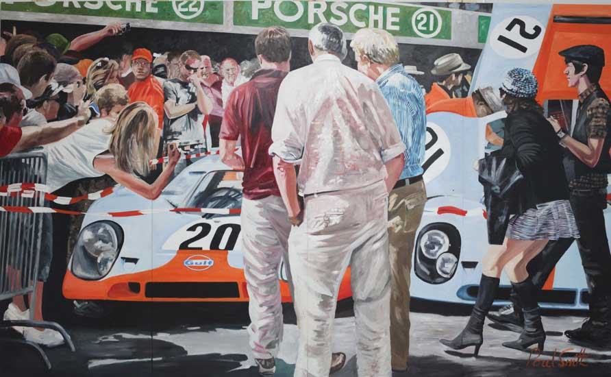 June 1970 24 hours Le Mans | 96 x 157 inches (244 x 398 cm) | Oil on Wood Panel