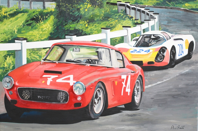 Targa Florio 1967.|Ferrai 250 SWB and Porsche 908.|Oil on Canvas.|24 x 36 inches (61 x 91cm).|� Sold