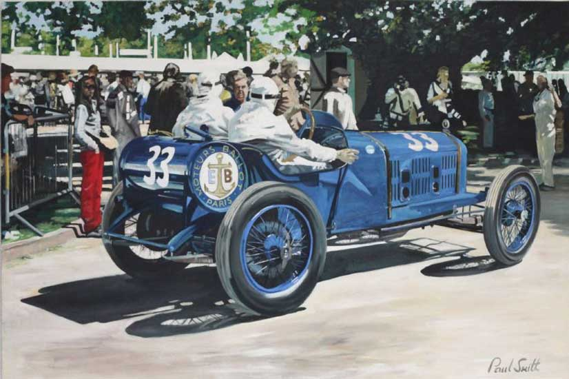 Vintage race car at Goodwood.|Oil on canvas.|48 x 72 inches (122 x 183 cm).| � Sold