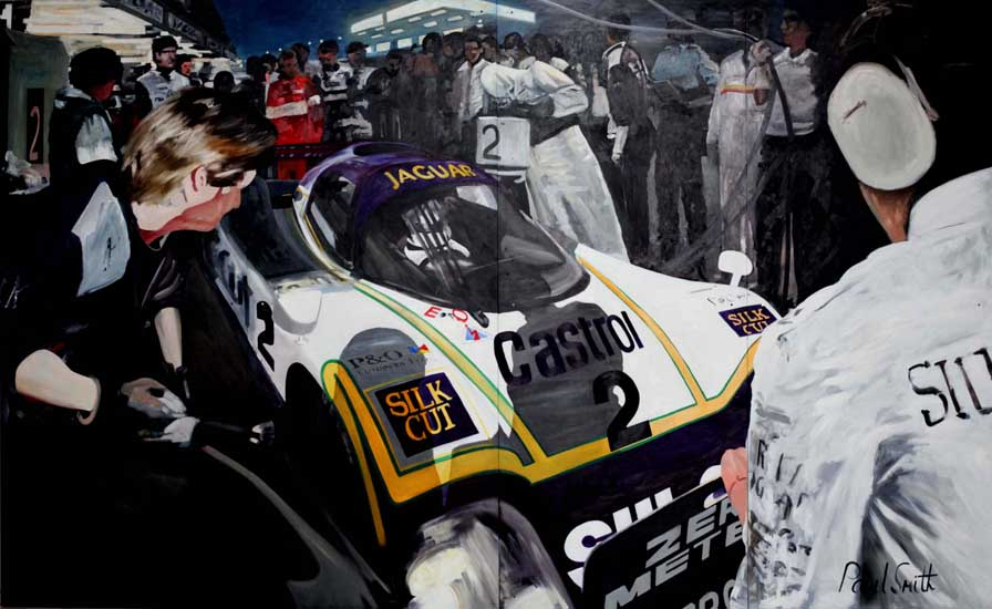 June 1988 24 Hours Le Mans| 96 x 157 inches (244 x 398cm)| Oil on Wood Panel