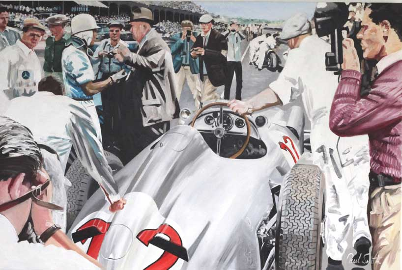 Stirling Moss 1955 British GP.|Stirling Moss talks with the manager of Mercedes Benz Motor Sport Alfred Neubauer.|This was to be a famous win for Moss, with the world champion Juan Manal Fangio in second place,|both in Mercedes W196.|Oil on canvas.|48 x 72 inches  (122 x 183 cm).SOLD