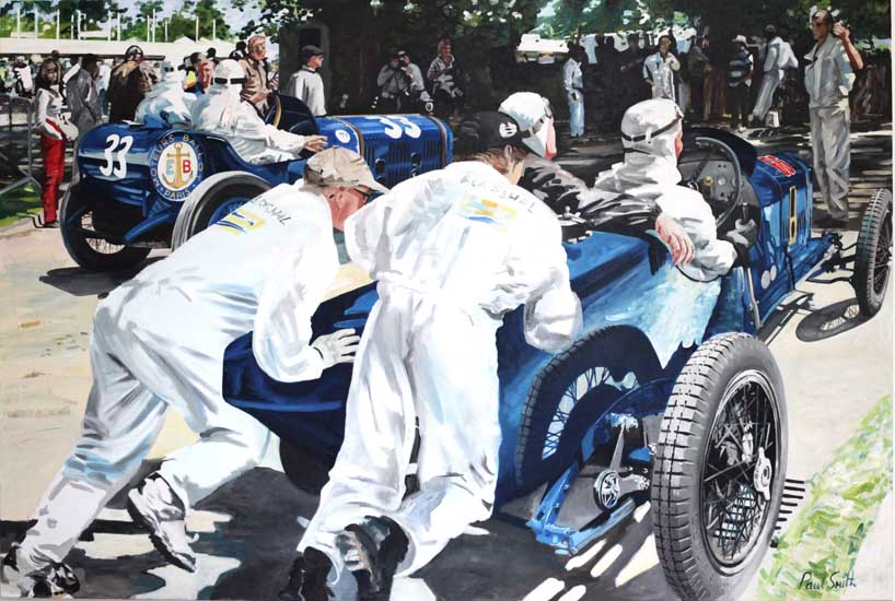 Indianapolis Race Cars.|Oil on Canvas.|72 x 108 inches (183 x 275 cm).|�POA.