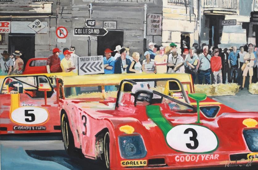 Targa Florio 1973.|Ferrari 312P driven by Nino Vaccarella.|Oil on Canvas.|24 x 36 inches (61 x 91 cm).|£ 1250.00