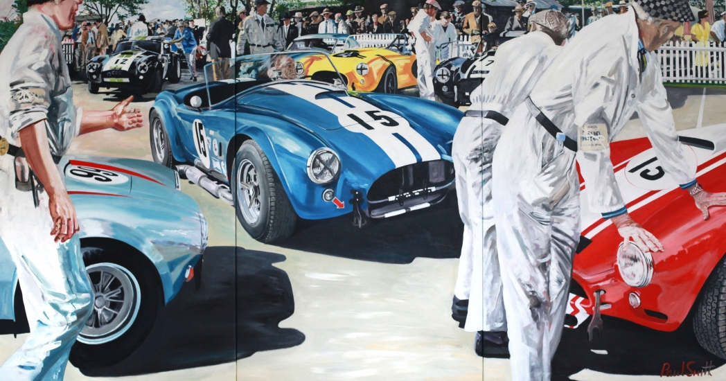 AC Cobra at Goodwood.|Triptych,paited on 3 seperate canvases.|72 x 144 inches (183 x 366 cm).|� SOLD