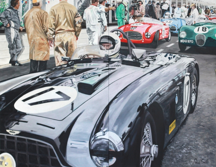 Aston Martin DB3.|In the pit lane at Goodwood Revival.|Freddie March Memorial Trophy 2013.|Oil on Canvas.|Overal size 72 x 92 inches (183 x 234 cm).|Diptych.|� Sold