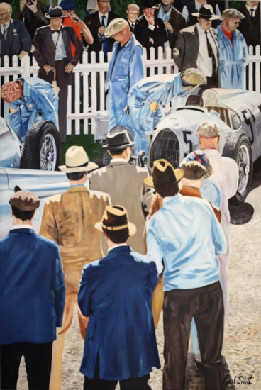 Auto Union at Goodwood 2012.|Oil on Canvas.|108 x 72 inches (275 x 183 cm).|� POA