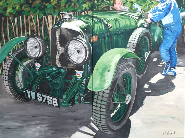 Bentley  4.5 Litre.|1929 Jack Barclay won the first Brooklands 500 mile race in this car .|Diptych.|Painted on two seperate canvases.|Overall size 72 x 96 inches (183 x 244 cm).|� Sold