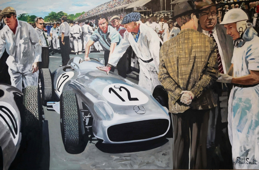 1955 British Grand Prix.|Positioning the cars on the starting grid.|Stirling Moss with the Mercedes team manager Alfred Neubauer and Rudolf Uhlenhaut race engineer.|Original oil on linen canvas painting by Artist Paul Smith.|48 x 72 inches ( 122 x 183 cm).� SOLD