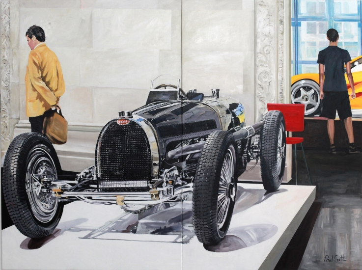 Bugatti 59 and McLaren F1.|Ralf Lauren Car Collection, Les Arts Decoratifs,|Paris 2011.|Oil on Canvas.Diptych.|Painted on two seperate canvases.|Overall size 72 x 96 inches ( 183 x 244cm).|� Sold