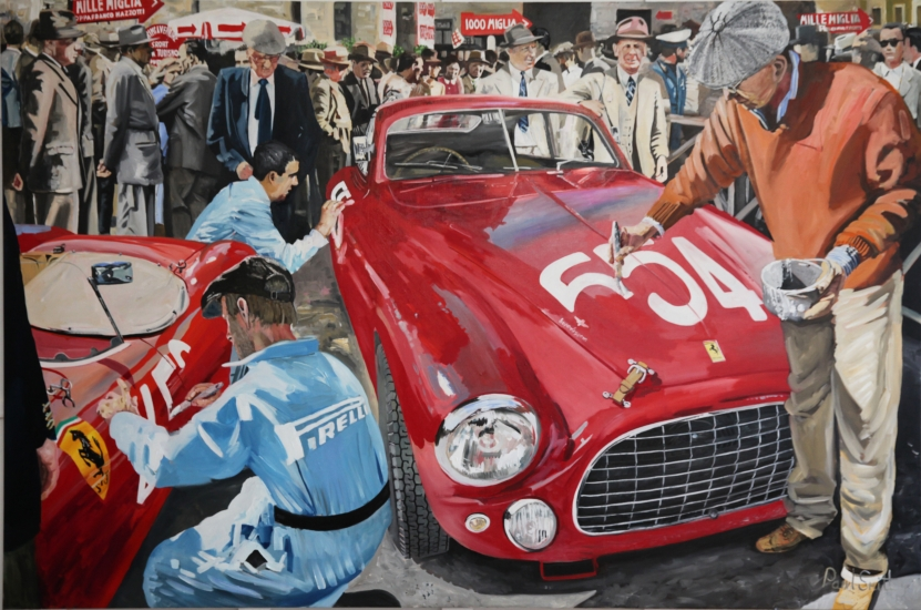 Mille Miglia 1950's,painting the start numbers on the cars,|Original Oil on linen canvas painting by Paul Smith.|72 x 108 inches (183 x  275 cm).|For sale �POA.