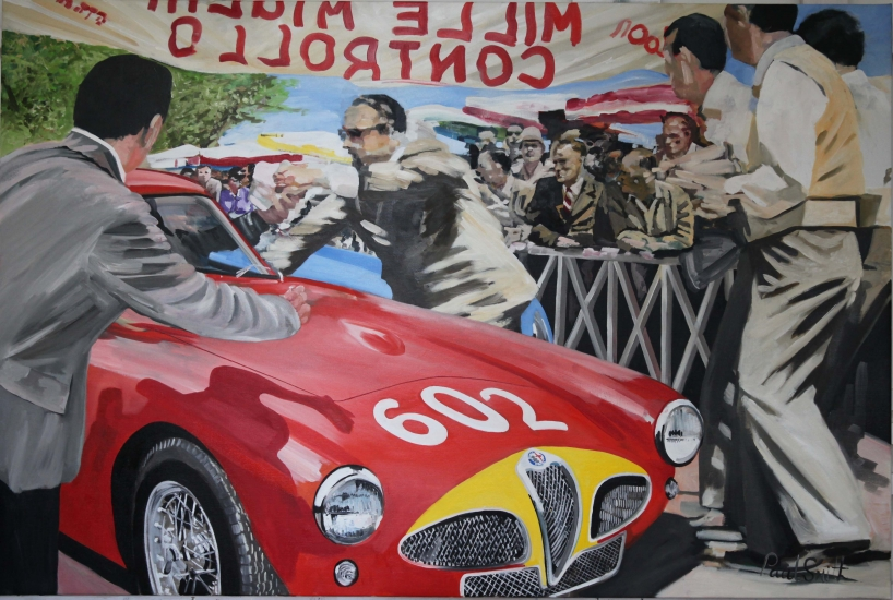 Mille Miglia 1953, Juan Manuel Fangio and Giulio Sala arrive at a control point , in Alfa Romeo 6C 3000 CM.|Original oil on linesn canvas painting by Artist Paul Smith.|48 x 72 inches ( 122 x 183cm).|� Sold