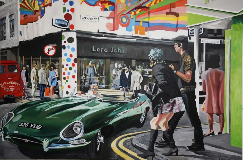 E Type Jaguar on the corner of Carnaby Street and Gantan Street , central London1965.|in front of the psychedelic painted boutique Lord John.|Original oil on canvas painting by Artist Paul Smith.|72 x 108 inches ( 183 x 275cm).|� SOLD