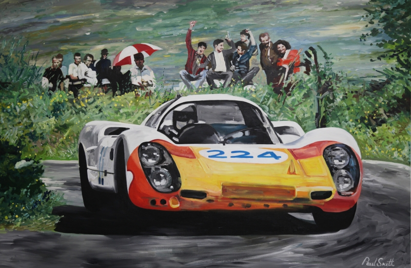Porsche 907, Vic Elford/Umberto Maglioli win the 1968 Targa Florio.|Original oil on canvas painting by Artist Paul Smith.|48 x 72 inches (122 x 183cm.)|� POA