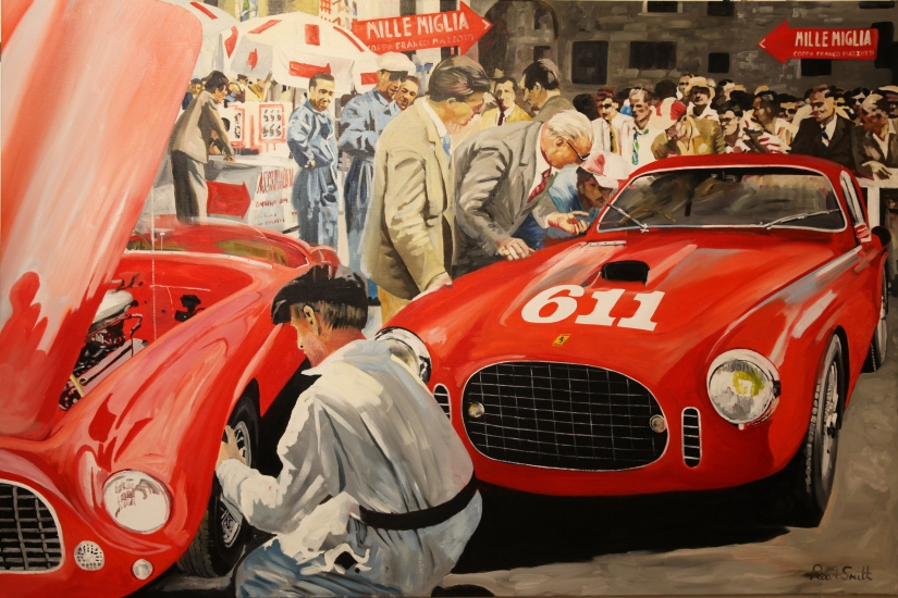Ferrarri 250s Berlinette Vignale, number 611,driven by Bracco & Rolfo.|Win the 1952 Mille Miglia.|Original oil on Linen Canvas painting by artist Paul Smith.|48 x 72 inches ( 122 x 183 cm).|� SOLD