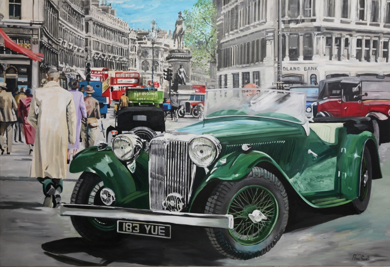 SS 1 in Holborn High Street,central London ca 1930,|Original oil on canvas painting by Artist Paul Smith.|72 x 108 inches ( 183 x 275 cm).|� SOLD