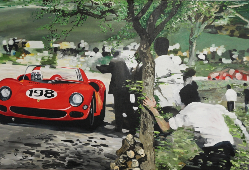 Ferrari 275P , Nino Vaccarella and Lorenzo Bandini set a new lap record and win the 1965 Targa Florio..|Original oil on canvas painting by Artist Paul Smith.|48 x 72 inches ( 122 x 183 cm).|For sale � POA
