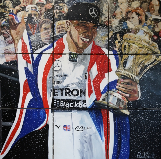 Lewis Hamilton wins the 2015 5 British GP at Silverstone,|and gets the Champagne treatment while holding the trophy.|Original Oil on Linen canvas painting by Artist Paul Smith.|185 x  185cm (73 x 73 inches)| Painted on 9 seperate canvases, mounted together on a frame for simple installation.|For sale � SOLD