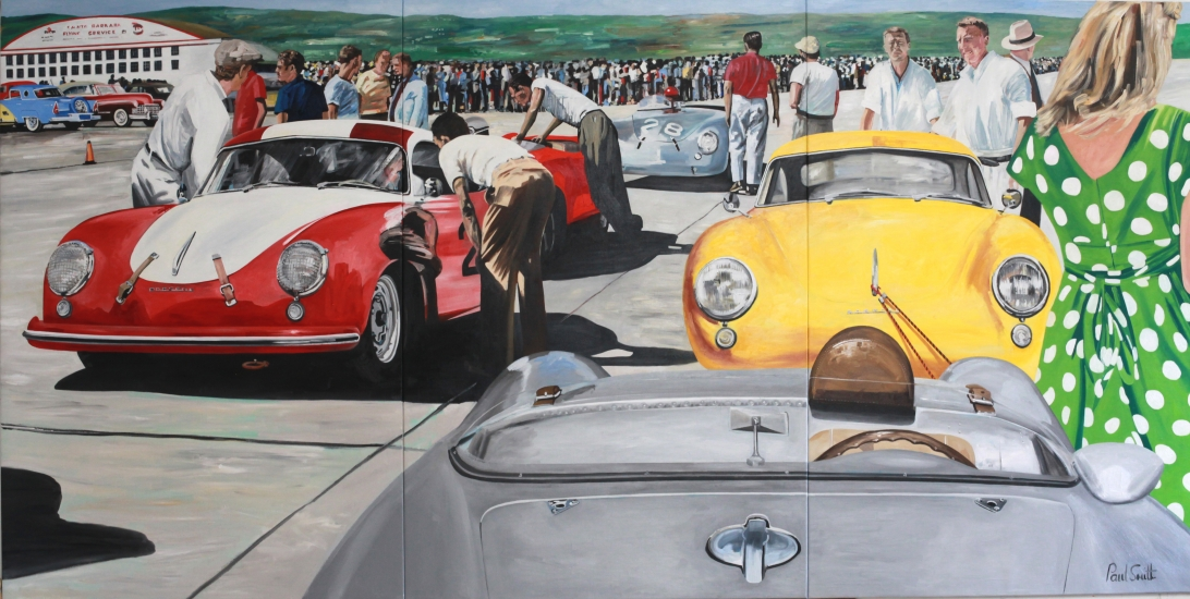 Porsche at Santa Barbara road race.|Oil on canvas.|Triptych,painted on 3 seperate canvas 183 x 366cm (72 x 144 inches).|SOLD