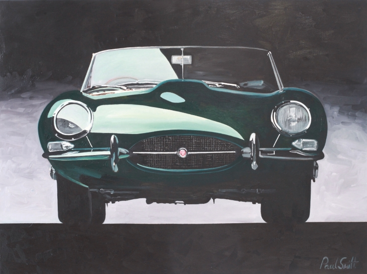 Jaguar E Type,|Oil on Canvas,|24 x 36 inches (61 x 91 cm),|SOLD