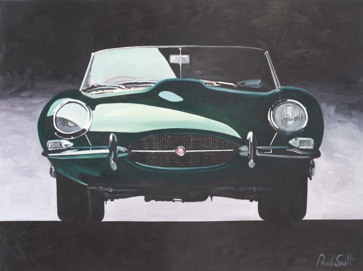 Jaguar E Type,|Oil on Canvas,|24 x 36 inches (61 x 91 cm),|SOLD