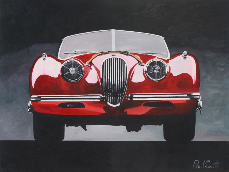 Jaguar XK 120,|Oil on Canvas,|24 x 36 inches(61 x 91 cm),|SOLD