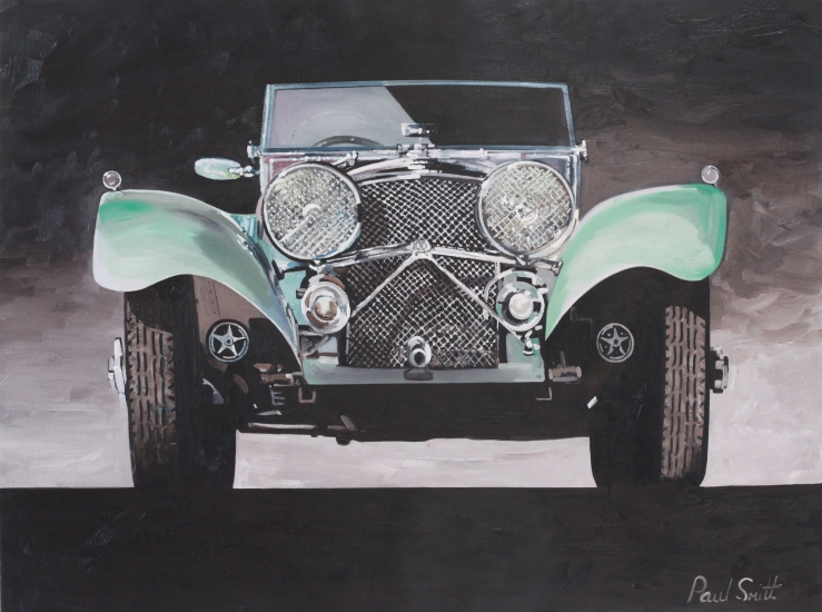 Jaguar SS 100.Oil on canvas,|24 x 36 inc ( 61 x 91cm).|SOLD