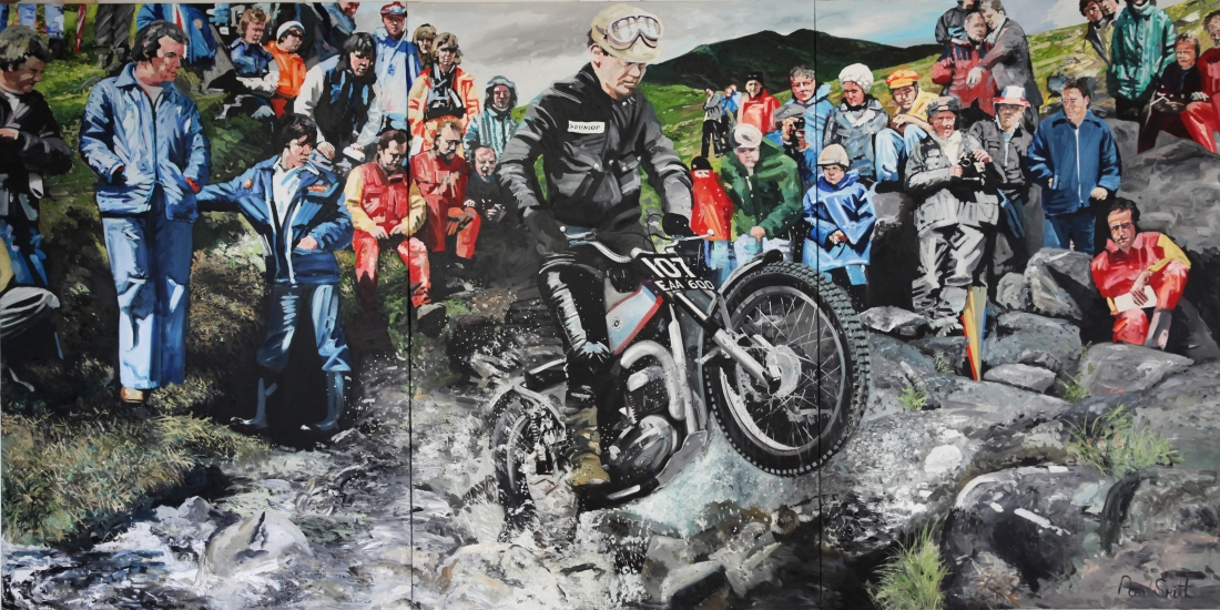 Sammy Miller, Scottish Six Day Trial.|Original Oil on canvas painting by Paul Smith.|Triptych,painted on 3 separate canvas.|72 x 144 inches (183 x 366 cm).|� Sold