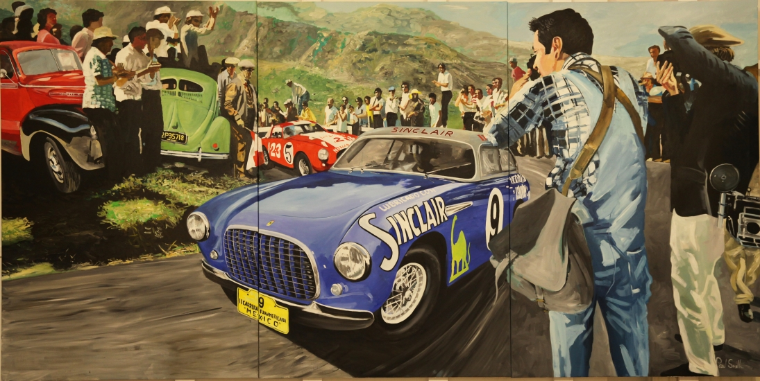 Ferrari 212 EL Vignale Coupe.|1951 Carrera Panamericana, Driven to 2nd place by Ascari and villoresi..|Original oil on Linen Canvas painting by artist Paul Smith.|Tripyych,painted on 3 separate canvas.|72 x 144 inches ( 183 x 366 cm).|�POA