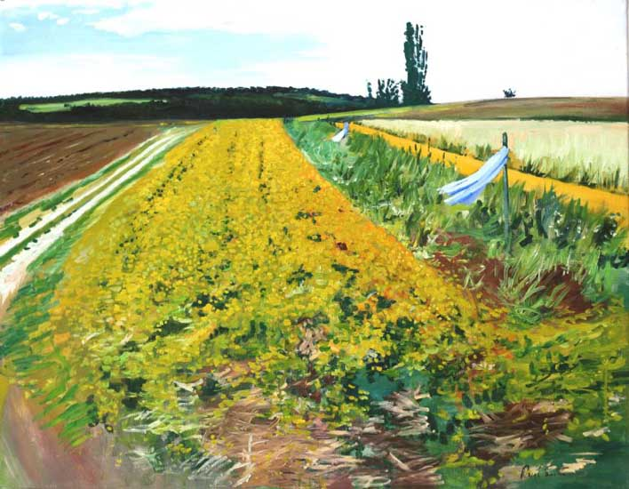 Farmers field near Porsche design center Weissach.|Original oil on linen canvas painting by artist Paul Smith.|Dimensins 28 x 36 inches (71 x 91 cm).|� POA