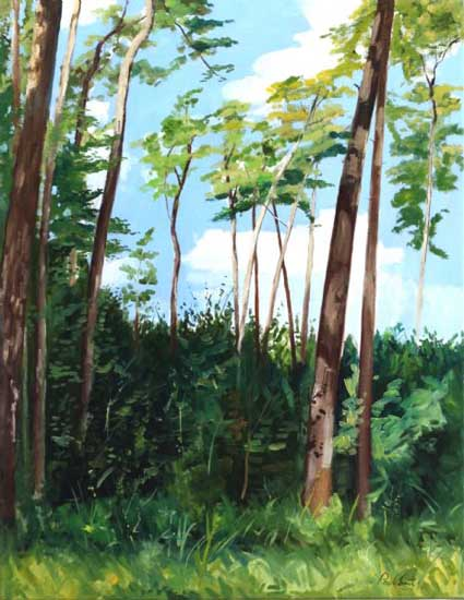 Trees in a landscape near the Porsche design center Weissach.|Original oil on canvas painting by artist Paul Smith.|36 x 28 inches (91 x 71 cm).|� POA