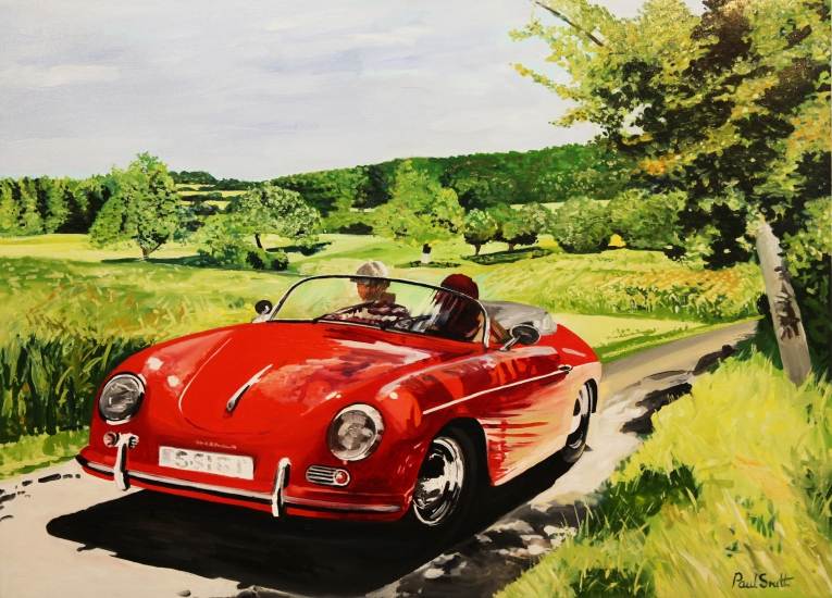Porsche 356 Speedster in a Landscape near Weissach Germany.|Original oil on linen canvas painting by artist Paul Smith.36 x 48 inches (91 x 122 cm).|£ Sold