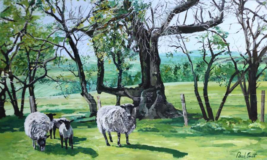 Landscape with sheep. 91 x 152 cm (36 x 60 inch). £ Sold