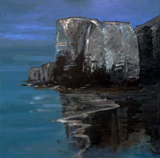 Botany Bay,Night scene.. Oil on canvas 36 x 36 inches (92 x 92 cm). £ POA