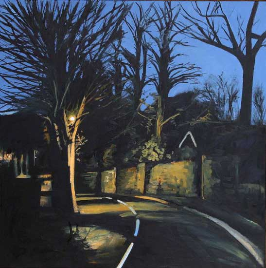 Calis Court Road, Night. Oil on canvas 36 x 36 inches (92 x 92m). £ POA