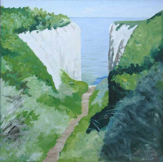Roman Gap Kingsgate Broadstairs Midday. Oil on canvas 36 x 36 inches (92 x 92 cm). £ POA