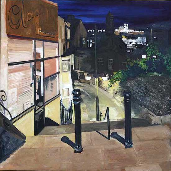 Ramsgate Harbour, Night. Oil on canvas 36 X 36 inches (92 x 92 cm). £ POA