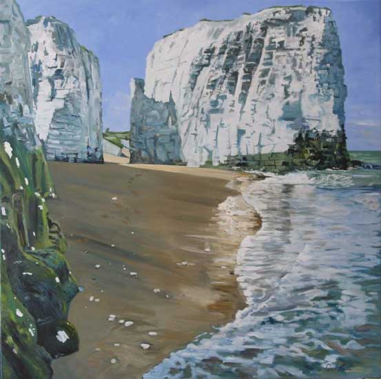 Incoming Tide on Bottany Bay,Broadstairs. . Oil on canvas 48 X 48 inches, 122 x 122 cm. £ Sold