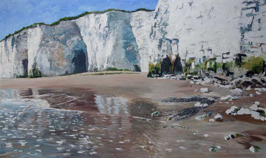 Kingsgate Bay, Broadstairs . Oil on canvas 36 x 60 inches (91 x 152 cm). SOLD