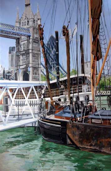 View Tower Bridge from Shad Thames. Oil on canvas 65 x 42 inches (165 x 107 cm). £ Sold
